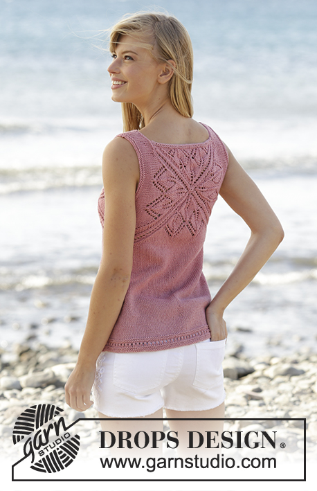 "Butterfly Heart Top / DROPS 170-4 - Knitted DROPS top with lace pattern and V-neck in ""Belle"". Worked top down. Size: S - XXXL."