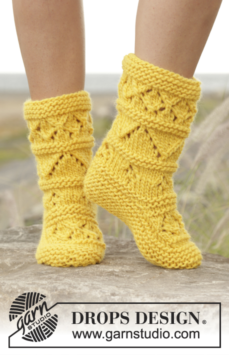 Knitting Patterns Free Drops : Lemon Twist / DROPS 170-9 - Knitted DROPS slippers with ...