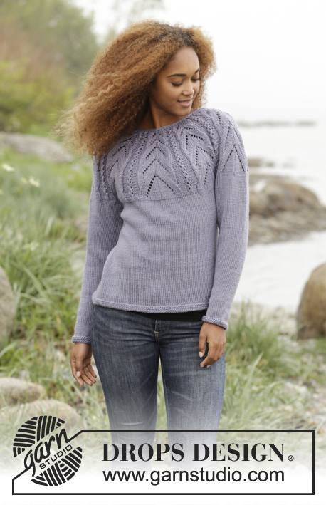 "Magic Web / DROPS 171-10 - Knitted DROPS jumper with lace pattern on yoke worked top down in ""Karisma"". Size: S - XXXL."