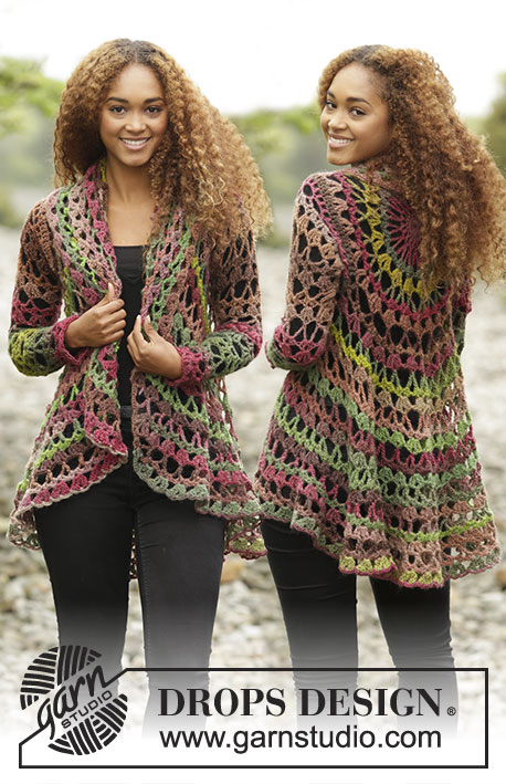 Fall Festival / DROPS 171-21 - Crochet DROPS jacket worked in a circle in Big Delight. Size: S - XXXL.