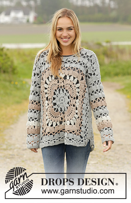 "Harvest Love / DROPS 171-35 - Crochet DROPS jumper with crochet squares and lace pattern in ""Nepal"". Size: S - XXXL."