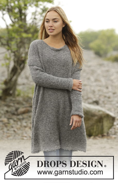 "Outlander / DROPS 171-36 - Knitted DROPS long jumper with vents in the sides in ""Alpaca Bouclé"". Size: S - XXXL."