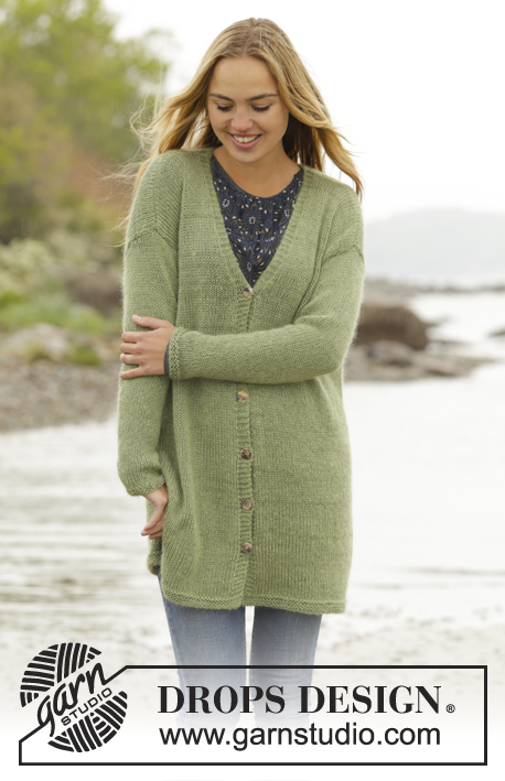 Weekend Walk / DROPS 171-42 - Knitted DROPS jacket with vents in the sides in BabyAlpaca Silk and Kid-Silk. Size: S - XXXL.