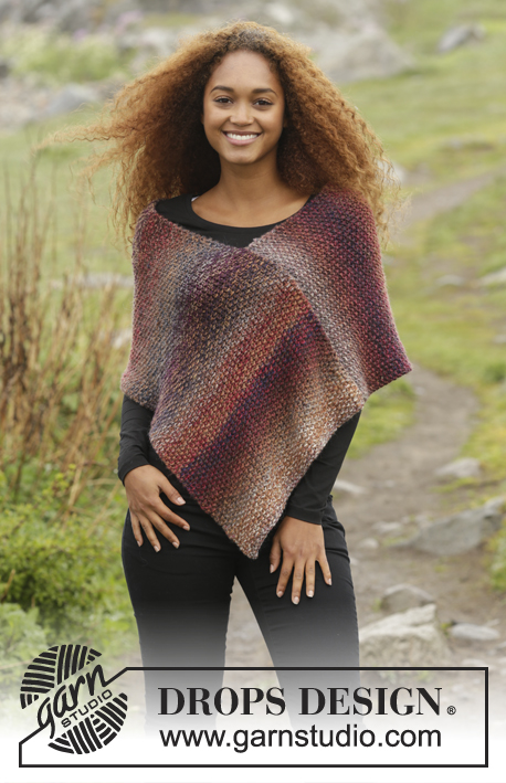 "Ember / DROPS 171-50 - Knitted DROPS poncho in seed st in 3 strands ""Delight"" or Alpaca. Size: S - XXXL."