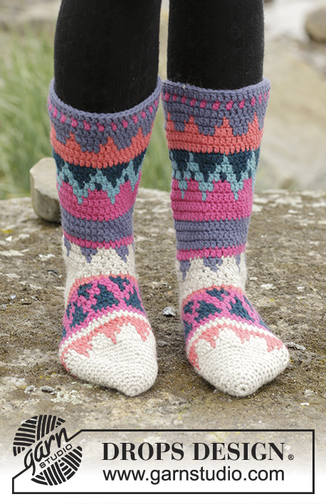 Colorful Winter / DROPS 172-16 - Crochet DROPS socks with multi-colored pattern in Nepal.