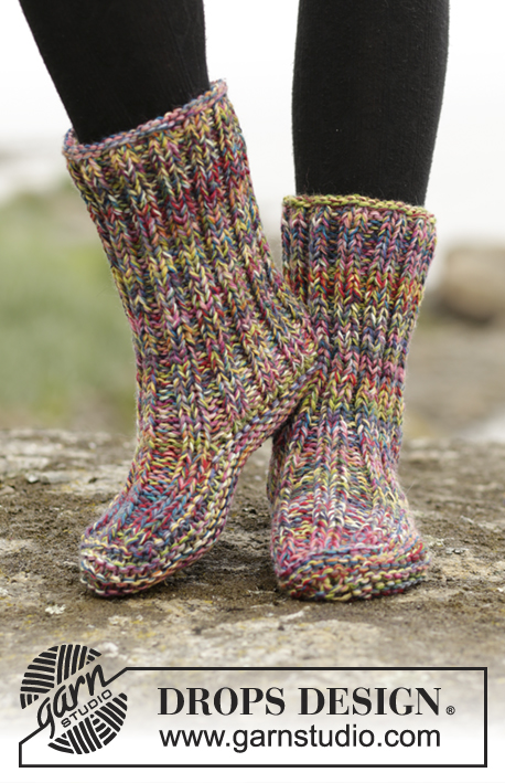 "Ribbed Confetti / DROPS 172-17 - Knitted DROPS slippers in garter st with rib in 4 strands ""Fabel""."