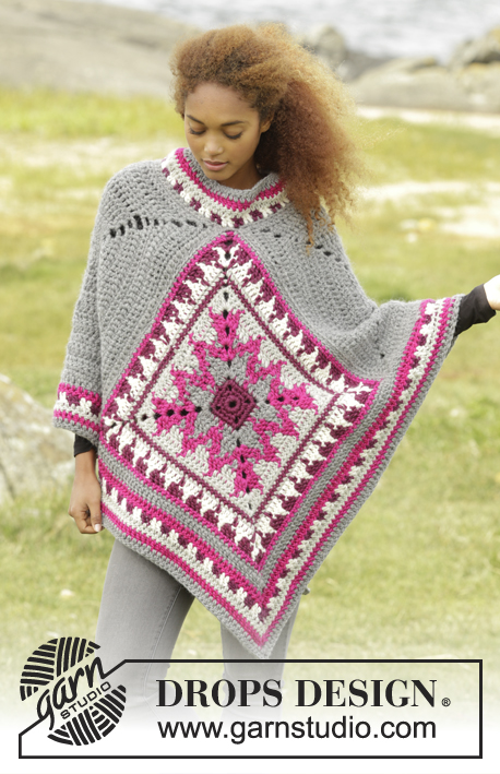 Desert Star / DROPS 172-38 - Crochet DROPS poncho with multi-coloured pattern in Eskimo. Size S-XXXL.
