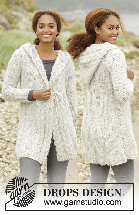"Melody of Snow / DROPS 172-4 - Knitted DROPS jacket with cables and hood in ""Melody"". Size XS/S - XXXL."