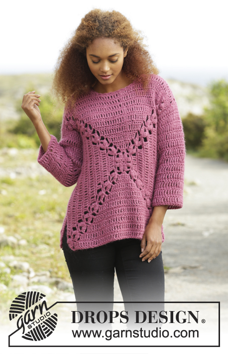 Autumn Rose / DROPS 172-41 - Crochet DROPS jumper worked in a square with fan pattern in Air. Size: S - XXXL.
