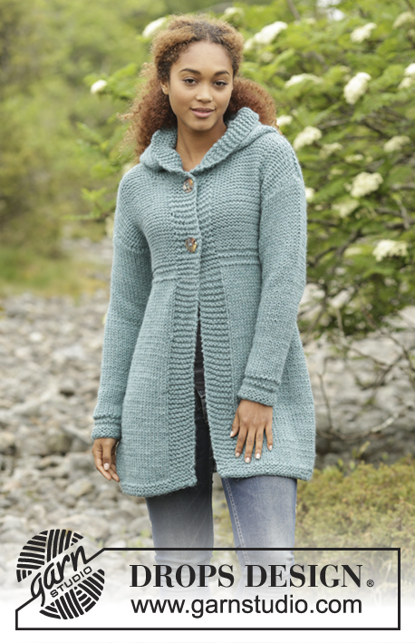 Aredhel / DROPS 172-46 - Knitted DROPS jacket with hood and A-shape in Andes. Size: S - XXXL.