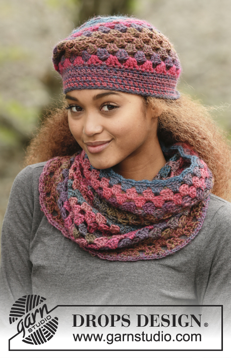 "1581cfab762 Set consists of  Crochet DROPS hat and neck warmer with dc-groups in ""Big  Delight""."