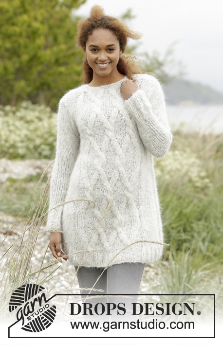 "Diamond Bliss / DROPS 173-17 - Knitted DROPS jumper with cables in ""Melody"". Size: XS - XXXL."