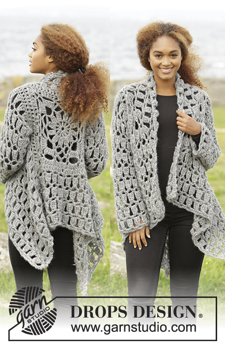 Stony Ridge / DROPS 173-31 - Crochet DROPS jacket worked in a square in 1 thread Cloud or 2 threads Air. Size S-XXXL.