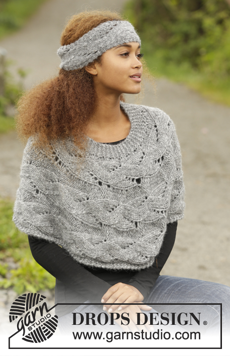 Passing Storm / DROPS 173-34 - Knitted DROPS poncho and head band with lace pattern, worked sideways in 1 thread Cloud or 2 threads Air. Size: S - XXXL.