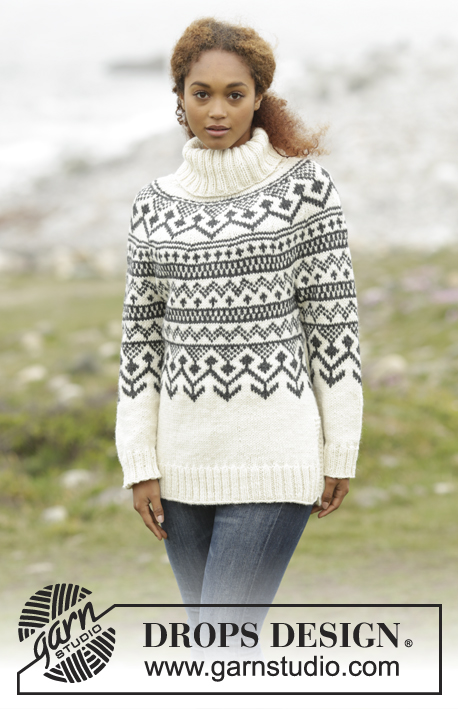 Black Ice / DROPS 173-5 - Knitted DROPS jumper with round yoke and Nordic pattern in Nepal. Size: S - XXXL.
