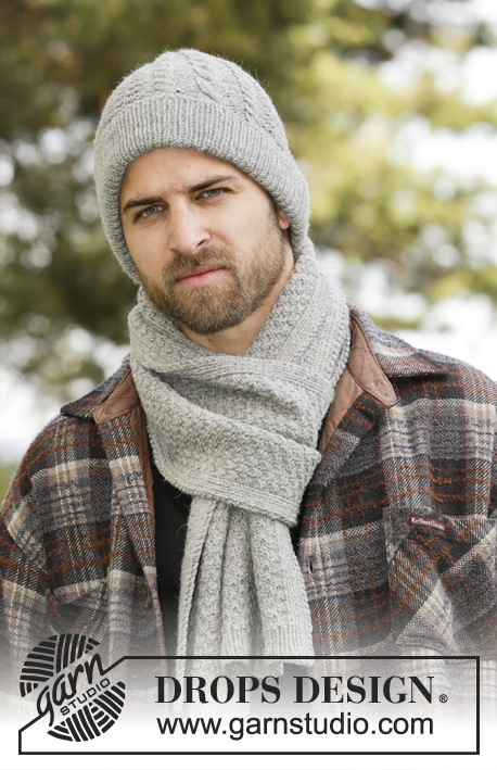 Weston / DROPS 174-10 - Set consists of: Knitted DROPS men's scarf and hat with cables, rib and texture in Karisma or Merino Extra Fine.