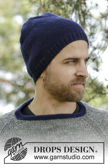 Keystone Hat / DROPS 174-12 - Knitted DROPS men's hat in stocking st and detail in ridges in Big Merino.