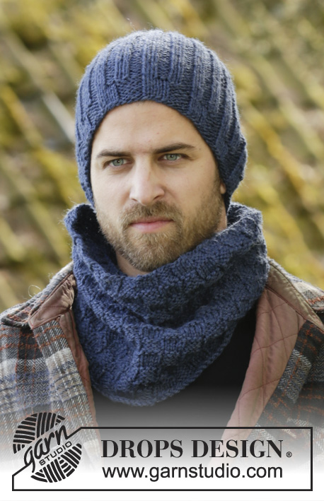 Albert Point / DROPS 174-13 - Set consists of: Knitted DROPS men's hat and neck warmer with texture and rib in Alaska.
