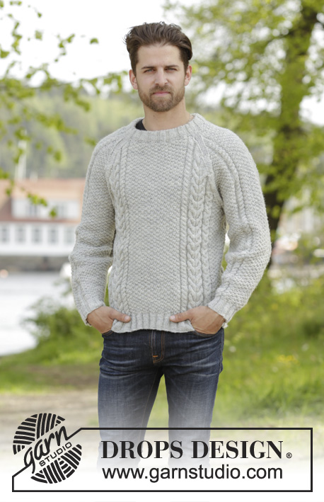 The Rower / DROPS 174-15 - Knitted DROPS men's jumper with cables, raglan and folding edge at the neck in Karisma. Size: S - XXXL.