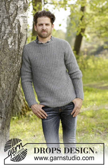 Beaver Ridge / DROPS 174-16 - Knitted DROPS men's jumper with textured pattern in Karisma and Kid-Silk. Size S- XXXL