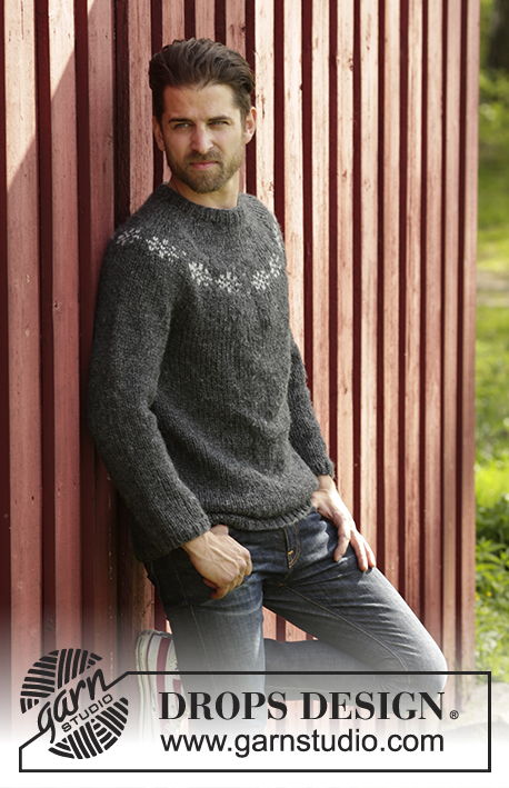 Wallace / DROPS 174-8 - Knitted DROPS men's jumper with round yoke and Nordic pattern in Alaska. Size: S - XXXL.