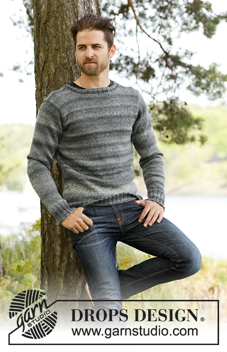 Moorland Jumper / DROPS 174-9 - Knitted DROPS men's jumper with set in sleeves in Fabel and Delight. Size S-XXXL.