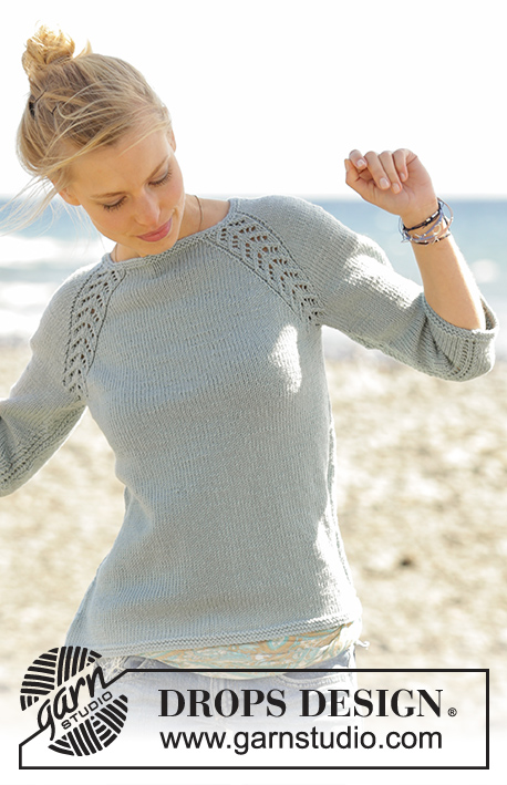 Wind Down / DROPS 175-1 - Knitted jumper with raglan and lace pattern, worked top down in DROPS Merino Extra Fine. Sizes S - XXXL.