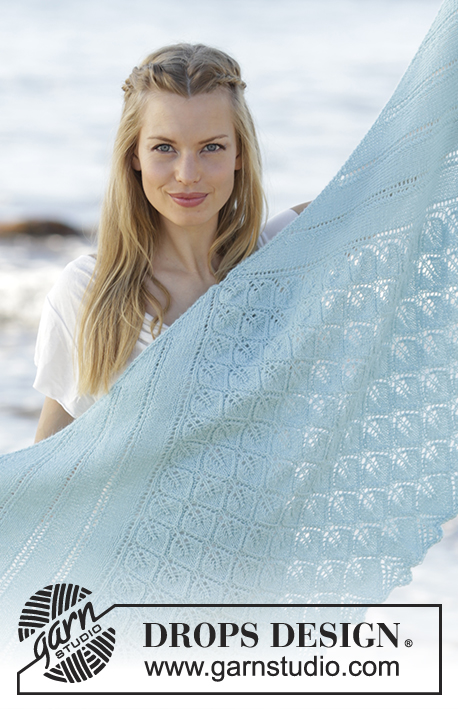 Cinderella / DROPS 175-13 - Knitted shawl with leaves and lace pattern in DROPS Alpaca, worked top down.