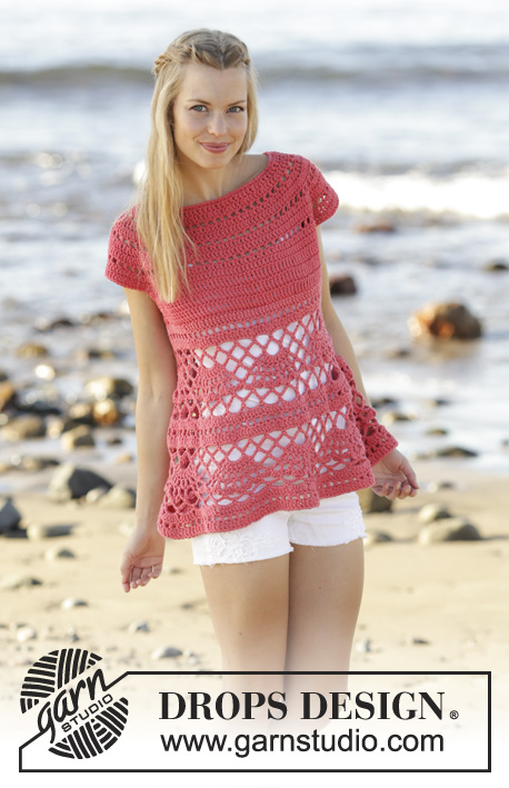 Astoria / DROPS 175-15 - Crocheted top with round yoke, lace pattern, crocheted top down in DROPS Paris. Size: S - XXXL.