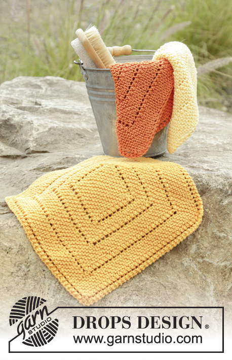 Summer Squares / DROPS 175-18 - Knitted cloth in garter stitch and lace pattern in DROPS Safran.