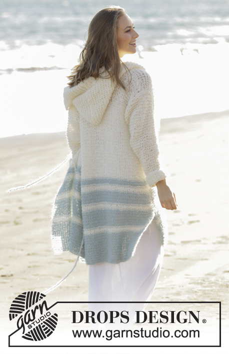 Driftwood / DROPS 175-2 - Knitted jacket in garter stitch with stripes and hood in DROPS Melody. Size: S - XXXL
