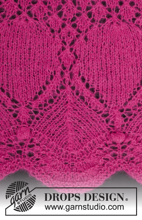 Open Heart / DROPS 175-20 - Pitsineulehuivi DROPS Brushed Alpaca Silk -langasta.