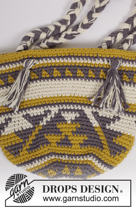 Cancún / DROPS 175-22 - Crochet bag with colour pattern in 2 strands DROPS Paris.