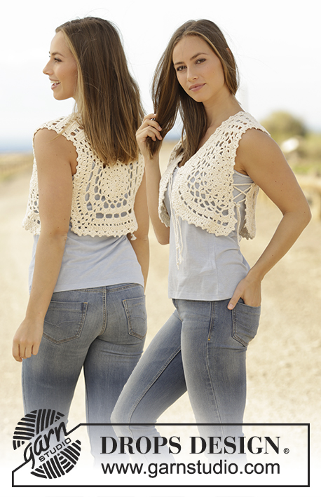 Bonita / DROPS 175-24 - Crochet vest with crochet square and lace pattern in DROPS Paris. Size: S - XXXL