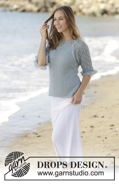 Seaside Dream / DROPS 175-28 - Jumper worked top down with raglan, ¾ sleeves, lace pattern and flounce in DROPS BabyAlpaca Silk and DROPS Kid-Silk. Size: S - XXXL