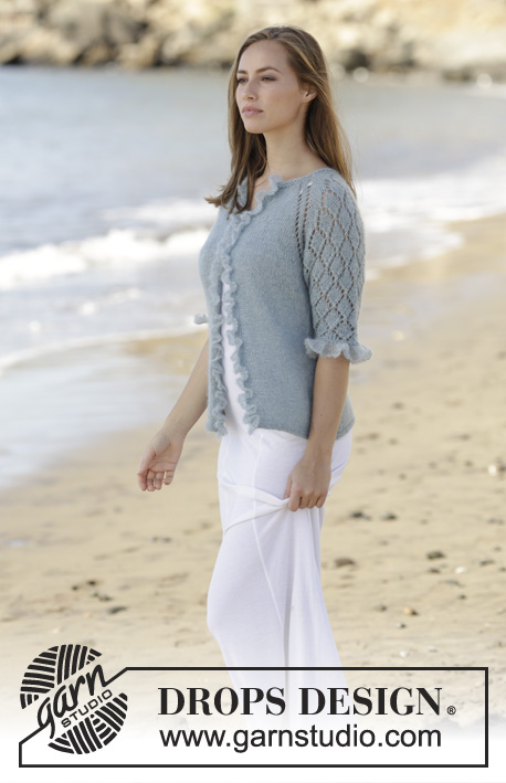 Seaside Dream Cardigan / DROPS 175-29 - Jacket worked top down with raglan, ¾ sleeves, lace pattern and flounce in DROPS BabyAlpaca Silk and DROPS Kid-Silk. Size: S - XXXL
