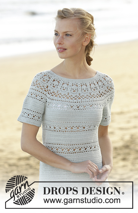 Grace in Lace / DROPS 175-30 - Dress crochet from the top down with round yoke, lace pattern and short sleeves in DROPS Safran. Size: S - XXXL