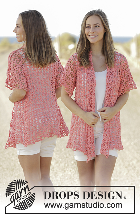 Peach Sorbet / DROPS 175-5 - Crochet jacket with seamless sleeves in DROPS Paris. Sizes S - XXXL.