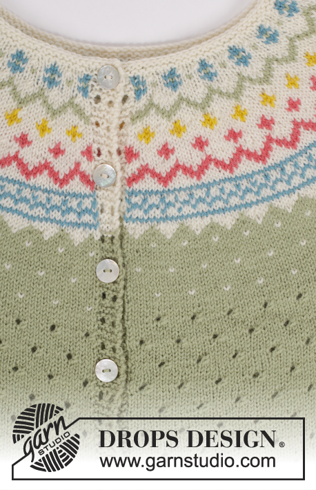 Spring Valley / DROPS 175-7 - Knitted top with wave pattern, round yoke and multi coloured pattern in DROPS Flora. Sizes S - XXXL.