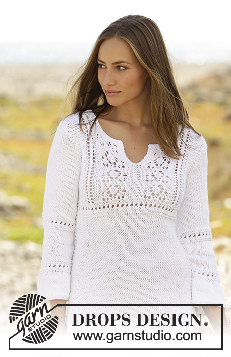 Candice / DROPS 176-1 - Knitted dress with lace pattern and ¾ sleeves in DROPS Paris. Size: S - XXXL