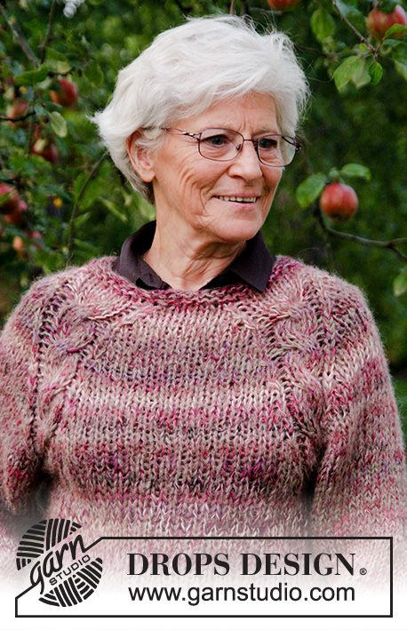 Misty Moor / DROPS 176-19 - Knitted jumper with raglan, cables and A-shape, worked top down in 2 strands DROPS Delight and 1 strand DROPS Brushed Alpaca Silk. Sizes S - XXXL.