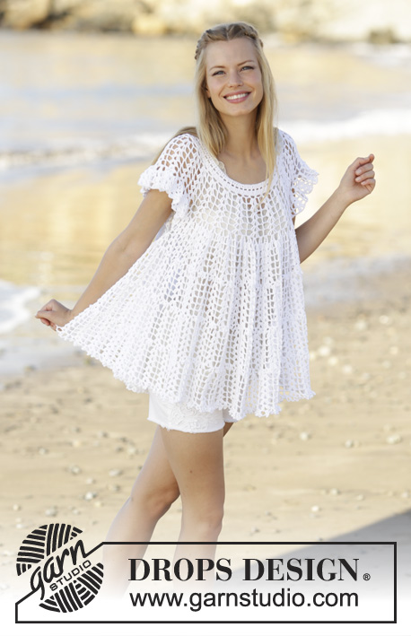 Lizzy / DROPS 176-2 - Tunic with fan pattern, flounce and A-shape, crochet top down in DROPS Safran. Size S-XXXL.