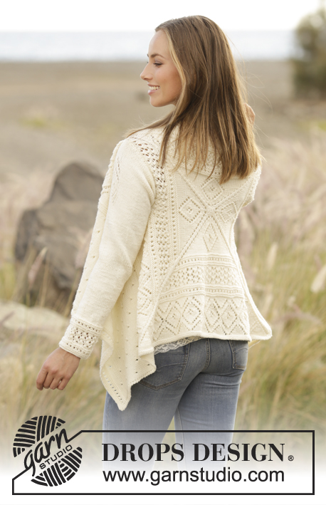 Sunny Date / DROPS 176-26 - Knitted jacket with lace pattern, worked in square in DROPS Merino Extra Fine. Sizes S - XXXL.