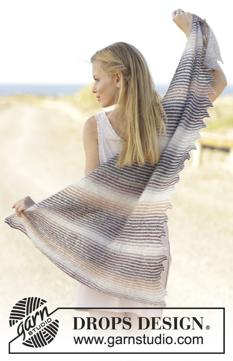 Dragon Heart / DROPS 176-28 - Knitted shawl with stripes and tips in DROPS Delight and Kid-Silk.