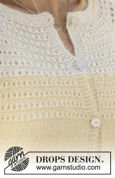 Vanilla Cream / DROPS 176-7 - Jacket with lace pattern on the yoke, raglan, ¾-length sleeves and A-shape, worked top down in DROPS Alpaca. Sizes S - XXXL.