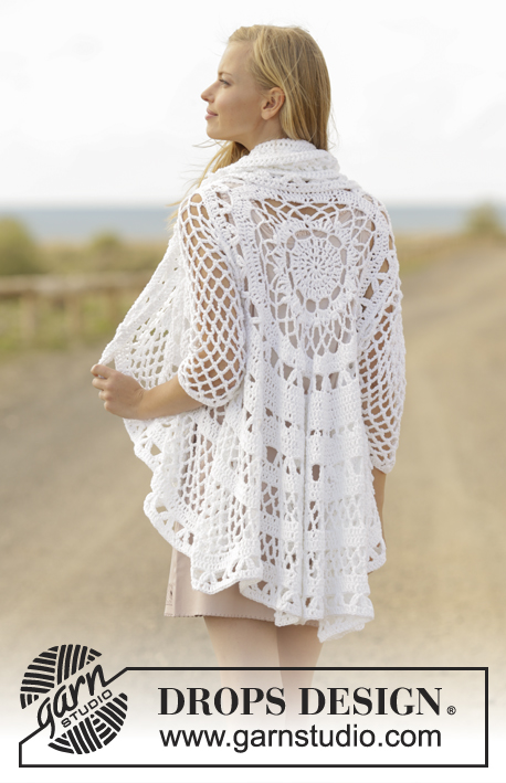 A Flair for Spring / DROPS 177-10 - Crochet jacket worked in a circle with lace pattern in DROPS Paris. Size: S - XXXL