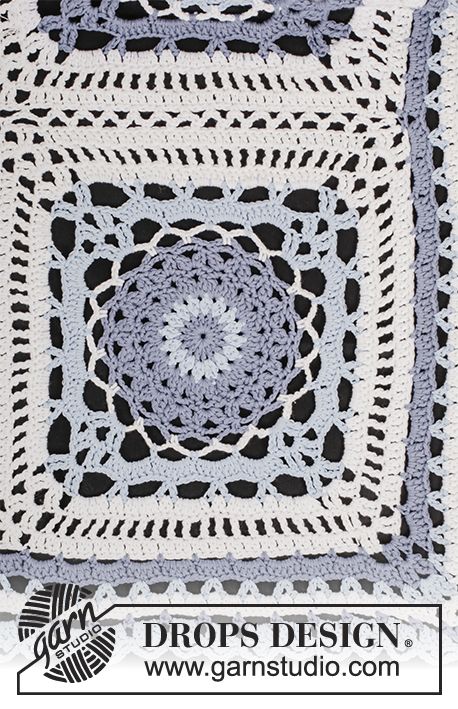 Porcelaine / DROPS 177-12 - Crochet blanket with squares and lace pattern in DROPS Paris.