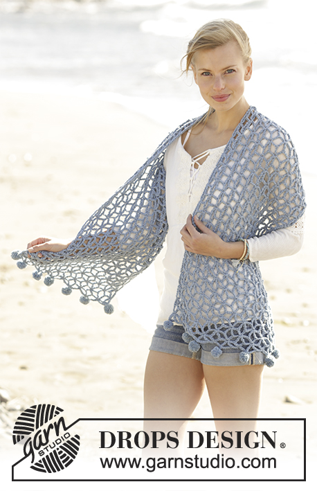 Pebble Beach / DROPS 177-23 - Crochet stole with star patterns in DROPS Big Merino.