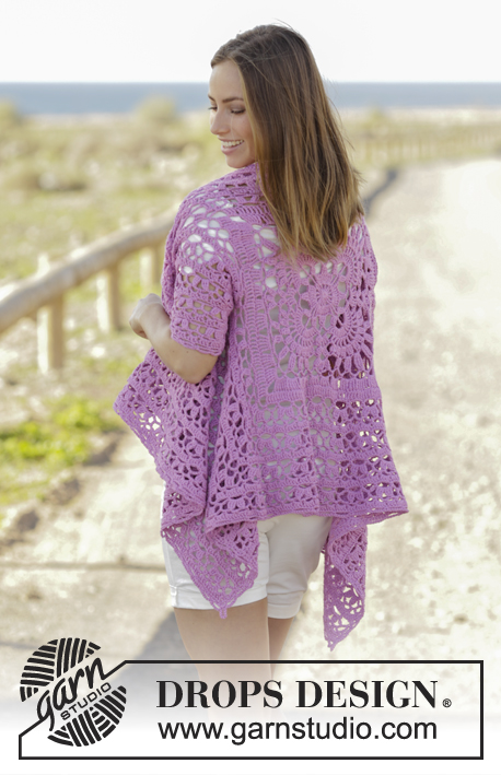 Lilac Dream / DROPS 177-28 - Crochet jacket worked in a square with lace pattern and short sleeves in DROPS Cotton Light. Size: S - XXXL