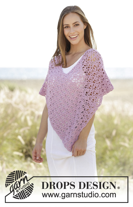 Arabella / DROPS 177-29 - Crochet poncho with lace pattern in DROPS Paris. Size: S - XXXL